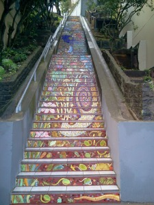 Lower section of Hidden Garden Steps, 16th Avenue between Kirkham and Lawton streets in San Francisco