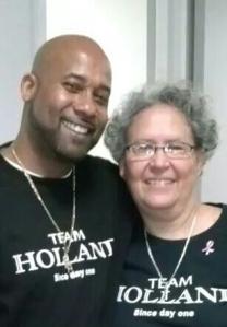 Steve Holland with colleague Martha Rios at SFPL